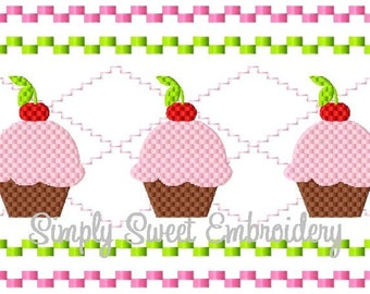 Cupcake Faux Smocking Machine Embroidery Design