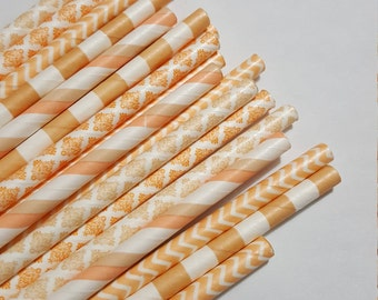Peaches and Cream - Paper Drinking Straws- Mixed Patterns/Colors - 24- Weddings/Showers/Parties/Events