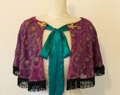 Vintage style cape - Circus costume cape - 1920's flapper fringed cape - Downton dress.