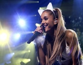 Ariana Grande wears my white lace cat ears headband .