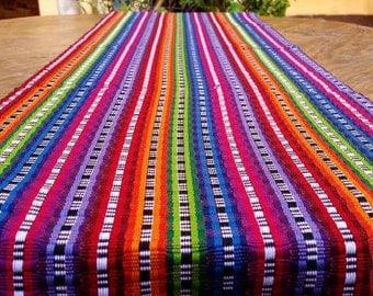 Stunning Handwoven Table Runner - Rainbow - Handmade in Guatemala - Free shipping USA and Canada