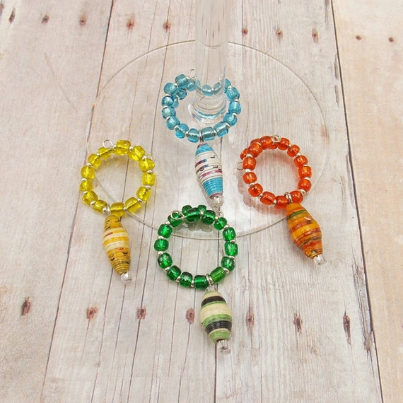paper bead wine glass charms set of 4 citrus colors
