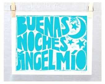 Spanish, Cuarto del Bebé, Regalo Bebé, Gift for baby, Nursery Decor, Children's Wall Art, Good Night, Buenas noches, ángel mío, Art Print