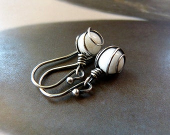 White jade  silver earrings, wire wrapped dangles, gift for mother, for sister, small gift, affordable, birthday present, 20th birthday