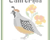 California State Bird, Flower and Motto Cross Stitch Pattern PDF