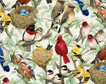 "Beautiful Birds Table Runner 54"" Reversible Green Table Runner Cardinal Table Runner Blue Bird Table Runner Bird Lovers Table runner"