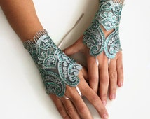 Wrist Corsage of Gold Embroidered Green Lace. Gloves. Handmade