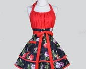 Flirty Chic Apron - Spring Tulips on Sexy Red and Black Two Layer Skirt Cute Flirty Sexy Retro Womens Apron