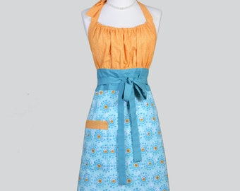 Cute Kitsch Retro Apron / Turquoise and Aqua Blue with Orange Bubble Coordinating Bodice in a Handmade Kitchen Womens Apron