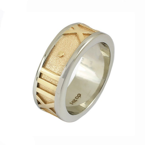 Personalized Roman Numeral Ring in Two Tone 14k Gold - Wedding or Anniversary Ring, 6mm
