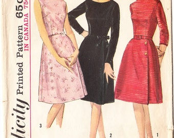 Vintage 1964 Simplicity 5702 Sewing Pattern Junior Misses' One Piece Dress Size 18 Bust 38