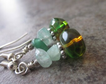 Mixed Green & Brown Earrings; Czech Glass, Aventurine Gemstone; OOAK; Canadian Seller; Hostess Gift; Philosophia Creations; Under 20 Dollars