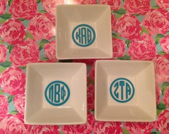 sorority reveal big little gift ring dish circle monogram, alpha gam