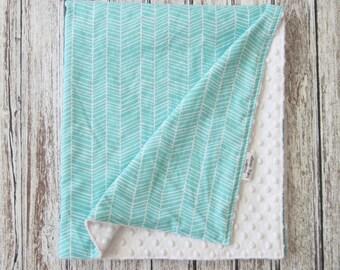 Aqua Herringbone Baby Blanket, Gender Neutral Minky Baby Blanket, Aqua and White Baby Blanket