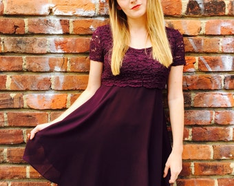 Vintage Plum Lace Babydoll Dress