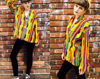 Unisex Vintage Multi Colored Popover Striped African Shirt