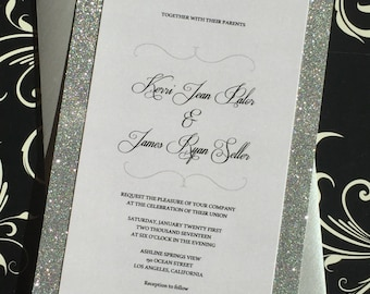 Glitter wedding invitation, silver glitter, silver anniversary invitations
