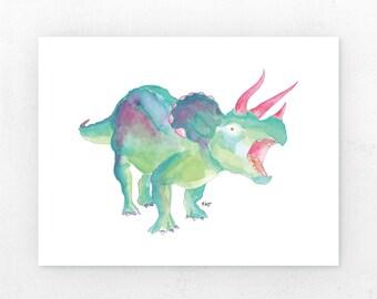 Green Triceratops | Art Print