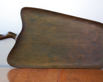 vintage very large wooden mahogony leaf shaped serving Tray  David Auld- Art Original - Nature Inspired - Minimalist
