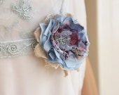 Rustic bridal flower corsage, Dress flower in cream and blue, Woodland wedding