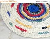 SALE SALE SALE Handmade upcycled recycled crocheted rag rug, Soft fabric rug, Eco friendly home decor, Colorful white nursery rug, bath mat