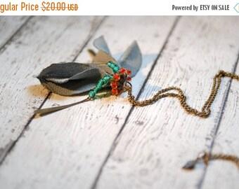 EndOfSummerSale Sage flower bud necklace, Flower necklace, Fabric petals necklace, Fabric Jewlery ,OOAK, TAGT Team
