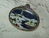 Winter Lighthouse Brooch, Lighthouse Cameo Scene, Sailing Ship and Lighthouse, Winter Harbor Scene, Lighthouse Jewelry, Clipper Ship Jewelry