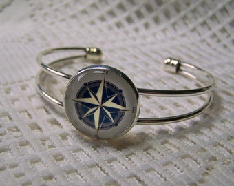 Compass Rose Bracelet  - Adjustable Silver Bangle Cuff - compass jewelry - Navigation - Traveler - True North - Maritime - Nautical