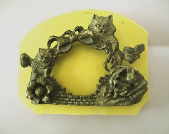 1 Large Kitty Cat Frame  3-D  Designs Food Grade Silicone Molds 3-D Clay Craft