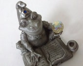Pewter Wizard Frog with Crystal Ball..Artist Signed
