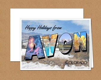 Happy Holidays From Avon, Colorado Photo Letter Cards (set of 12)