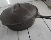 Vintage Cast Iron Deep Skillet  #9 Chicken Fryer with Lid