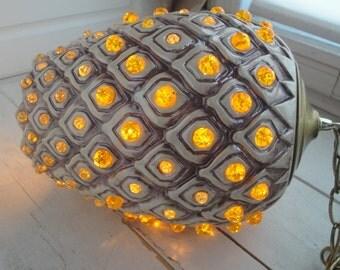 Vintage Swag Lamp Yellow Brown Pendant