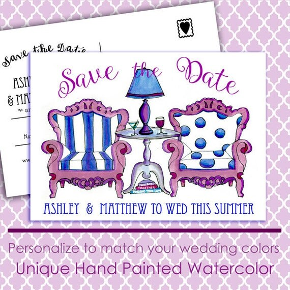 Printable Save the Date Card, Save the Date Postcard, Watercolor Painting, 2016 Wedding Trends, DYI Printable Wedding Invitations