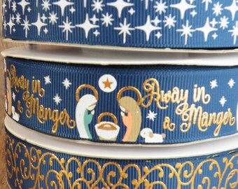 7/8 Away in a Manger, Baby Jesus Ribbon, Christmas Ribbon, Manger Ribbon, Angel Ribbon, Nativity, RIBBON by the YARD