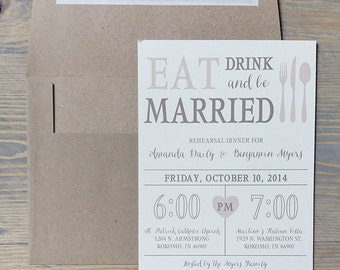 Rehearsal Dinner Invitation, Eat, Drink & Be Married, rehearsal invitation