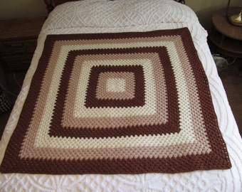 On Sale Vintage Granny Square Afghan, Big Square, Geometric Neutral Colors