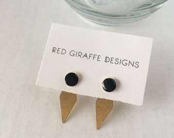Vintage | Black Enamel Studs with Brass Ear Jackets | Post Earrings