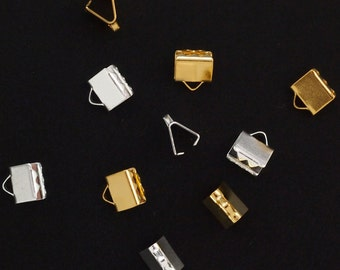 10 - Fold Over Crimp Ends for Ribbon or Leather - 6mm X 5mm - Silver or Gold Plate - Best Commercially Made - 100% Guarantee