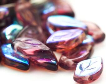 20 Amethyst AB Czech Leaf Beads  - 10mm X 5mm - 100% Guarantee