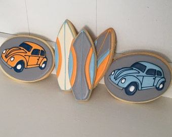 Surfboard VW Bug Hand Decorated Sugar Cookies - 1 Dozen