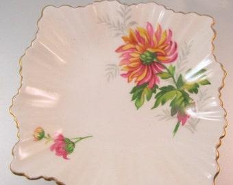10% OFF SALE GLADSTONE England Chrysanthemums Nut Dish Pin Dish Ring Dish Bone China Vintage 1946 - 1961