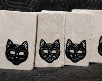 Day Of The Dead Cat Coasters
