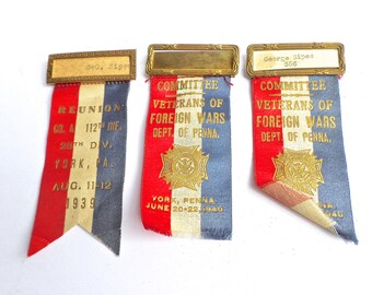 3 Vintage VFW Convention Ribbons, VFW Delegate Badge Ribbons, Veterans of Foreign Wars, 1939-1940 Pennsylvania VFW Memorabilia