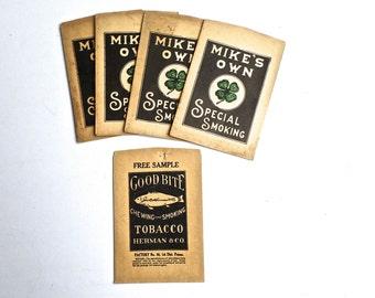Vintage Paper Tobacco Bags, Mike's Own Special Smoking Bag, Good Bite Tobacco Bag, Tobacciana, Tobacco Advertising, Smoking Ephemera