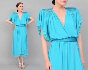 Vintage 80s Aqua Blue Wrap Dress Beaded Shoulders Flutter Sleeves Disco Party Cocktail Dress with Belt