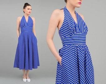 Vintage Blue Chevron Striped Sundress Marilyn Monroe Halter Dress Retro Circle Skirt Midi Dress Cobalt White Small S
