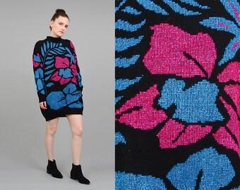 Vintage 80s Floral Sweater Pop Art Graphic Metallic Lurex Knit Jumper Oversize Sweater Mini Dress S - XL