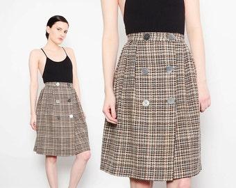 50s 60s Tweed Wool Skirt Plaid Pleated Skirt High Waist 1960s Preppy Retro Knee Length Skirt Brown Black Gray Extra Small XS