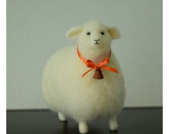 Wooly White Sheep With Rusty Bell Needle Felt Wool Country Home Decor